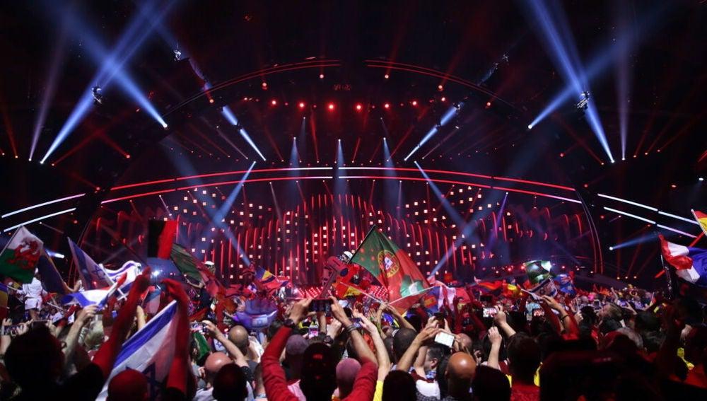 Vista del escenario del festival de Eurovisión.
