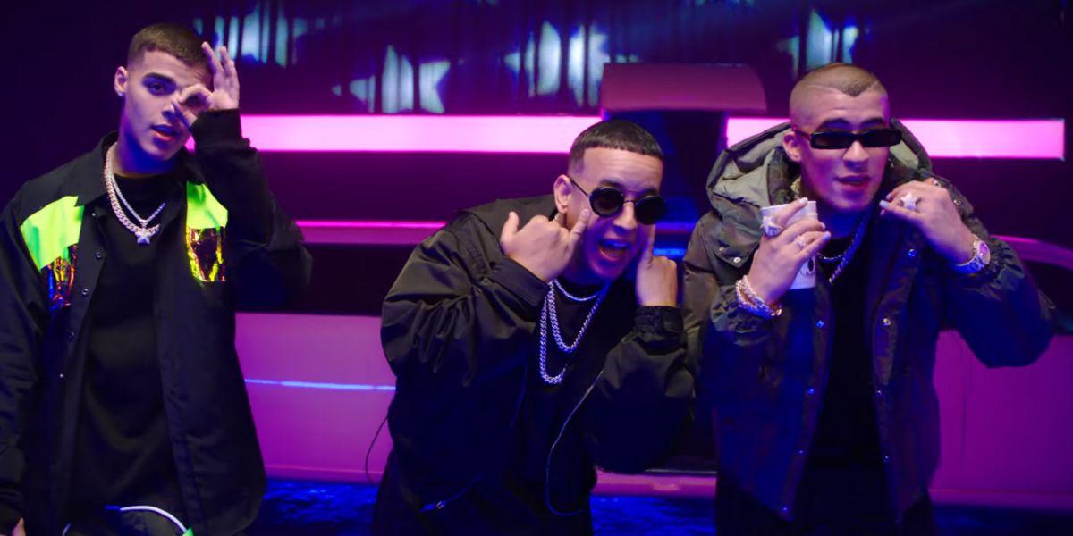Lunay, Daddy Yankee y Bad Bunny en el videoclip de 'Soltera Remix'