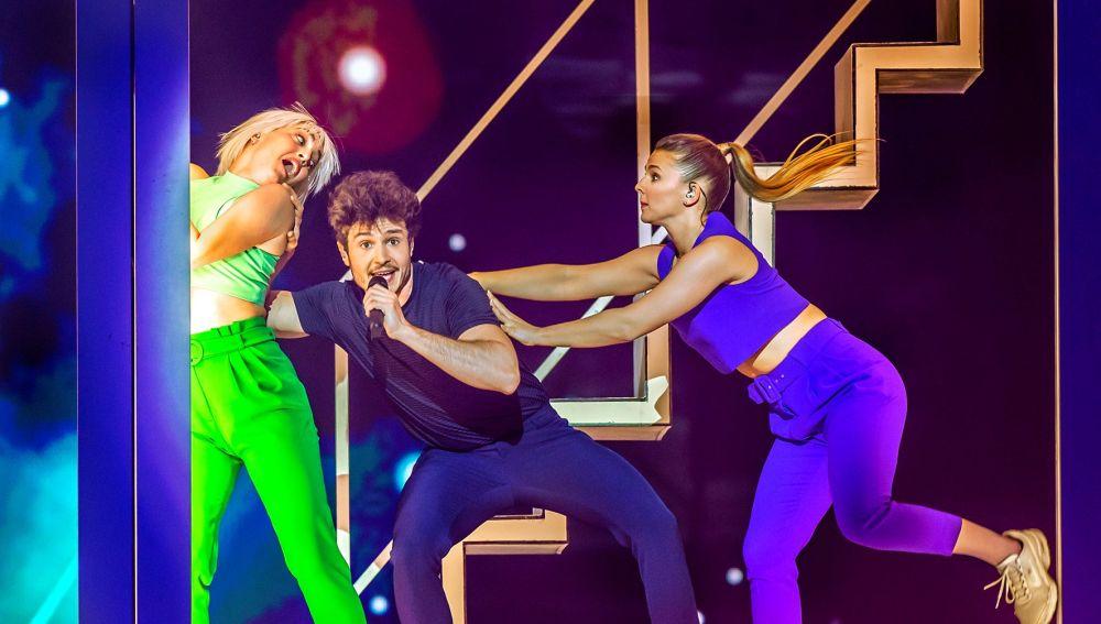 El representante español de Eurovisión, Miki Núñez, en el segundo ensayo