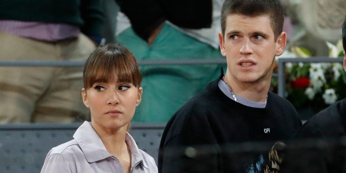 Aitana Ocaña y Miguel Bernardeau en el Mutua Madrid Open durante el partido de Rafa Nadal