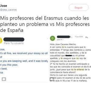 Tuit viral del estudiante