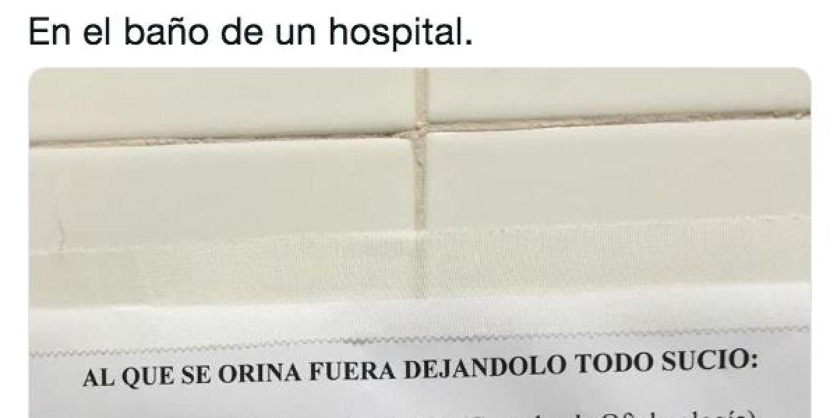 Cartel baño del hospital