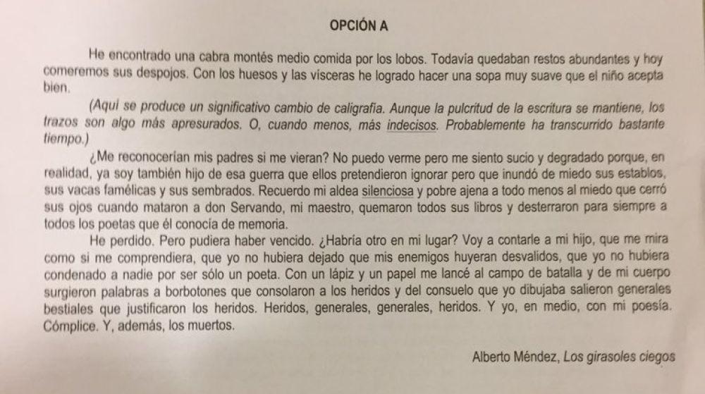 Imagen de la Opción A en el examen de Literatura de la Selectividad de Andalucía 2019