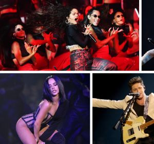 Rosalía, Halsey, Becky G, Niall Horan y Dua Lipa durante sus actuaciones en los MTV EMAs 2019