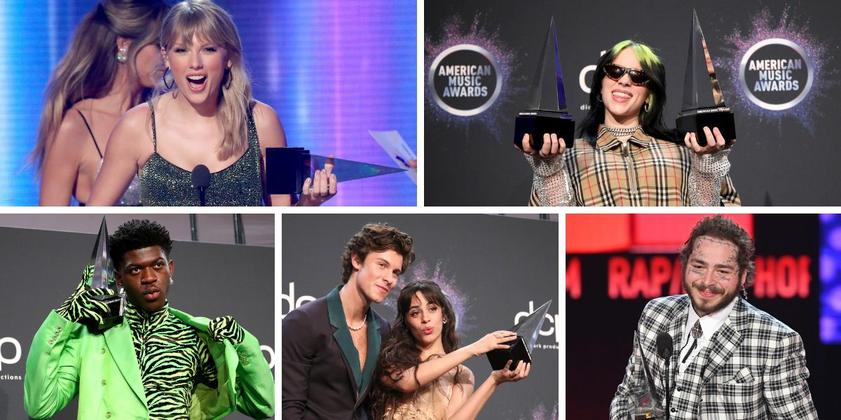 Taylor Swift, Billie Eilish, Lil Nas X, Shawn Mendes, Camila Cabello y Post Malone, premiados en los AMAs 2019