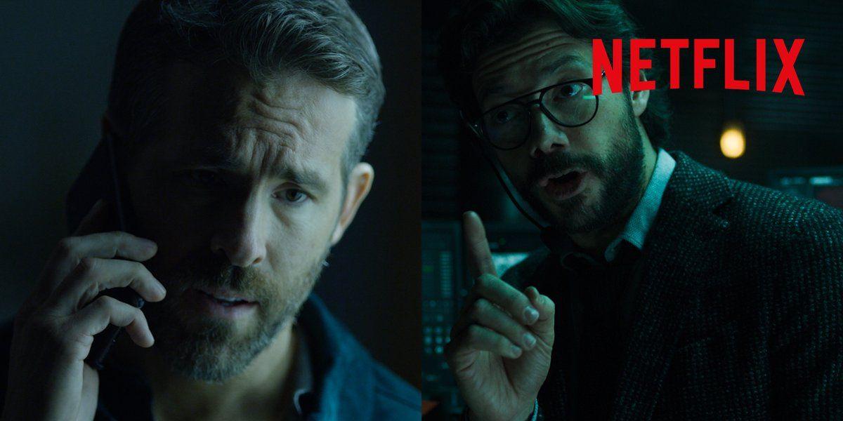 Ryan Reynolds y 'El Profesor' en el vídeo promocional de la película '6 en la sombra'