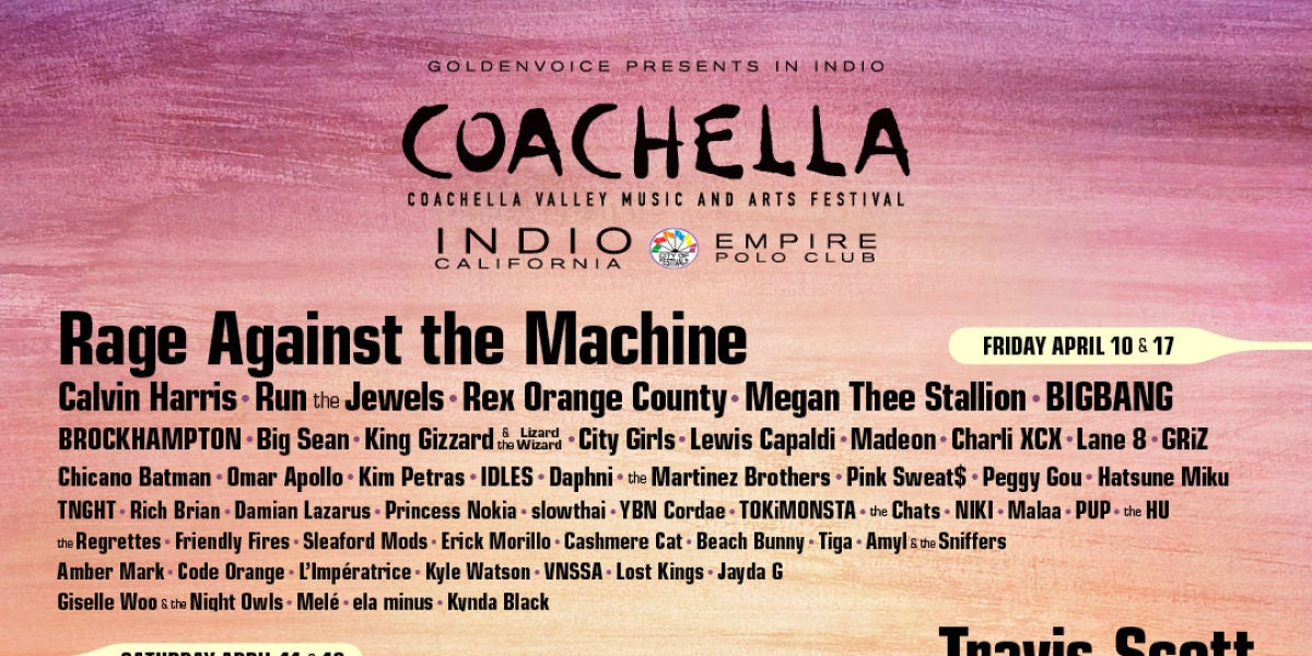 Cartel festival Coachella 2020