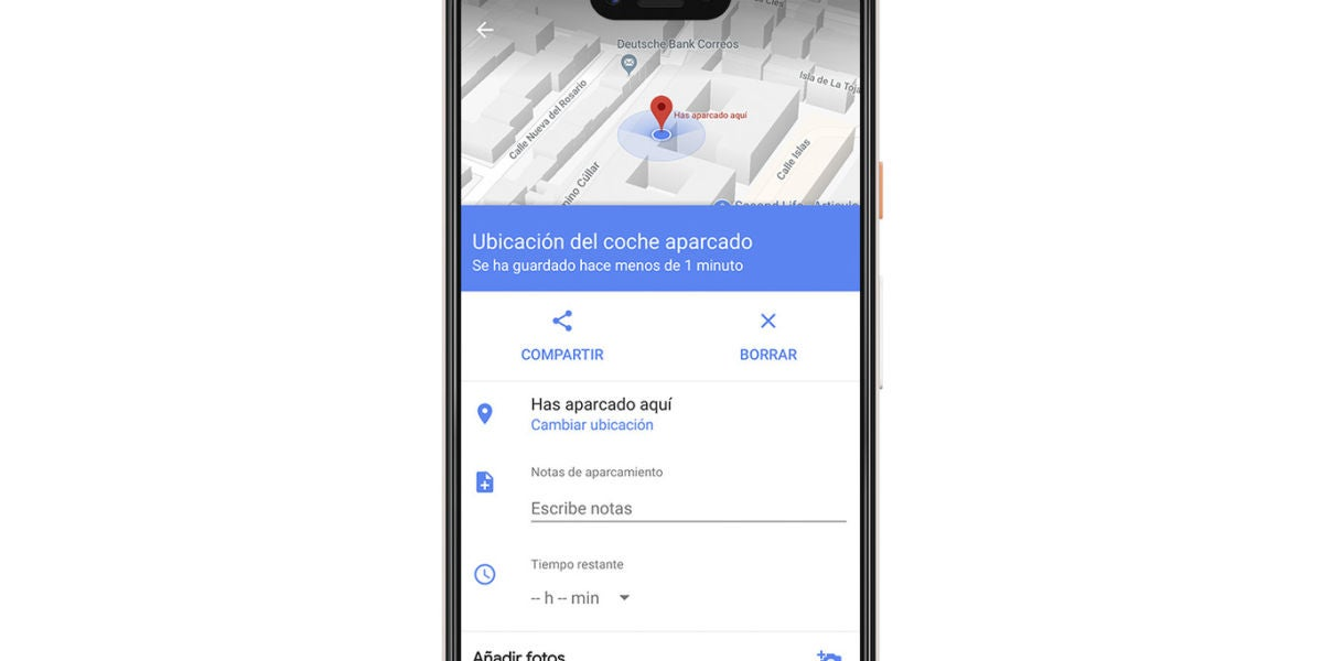 Google Maps para saber dónde has aparcado