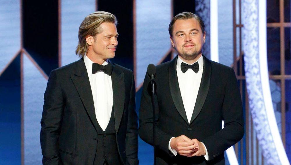 Brad Pitt y Leonardo Dicaprio en los Globos de Oro 2019