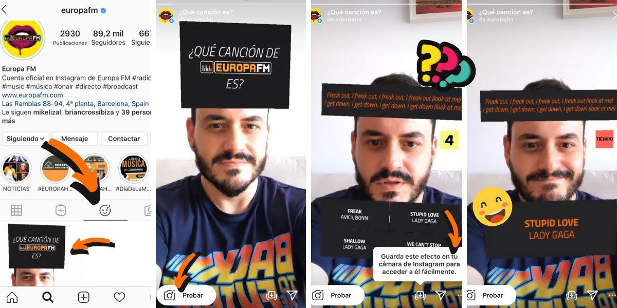 Busca el filtro en el perfil de Instagram de Europa FM
