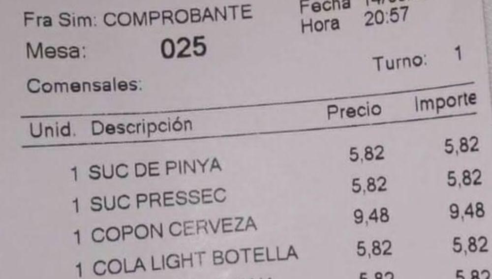 La cuenta de un bar de Barcelona que se vuelve viral un año después