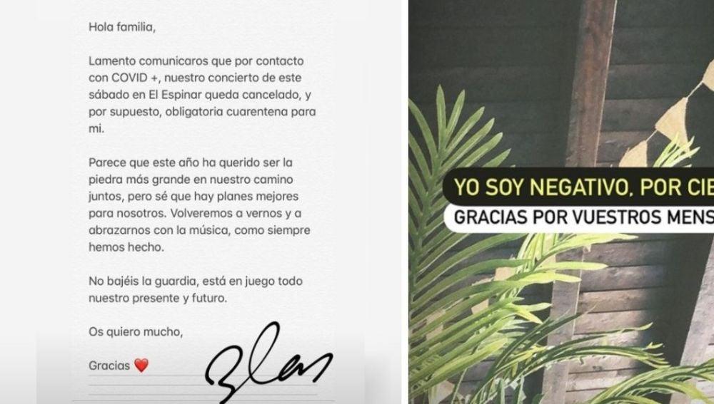El comunicado de Blas Cantó en sus redes sociales