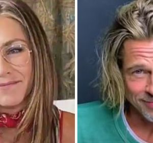 Jennifer Aniston y Brad Pitt durante la lectura de 'Fast times at Ridgemont High'