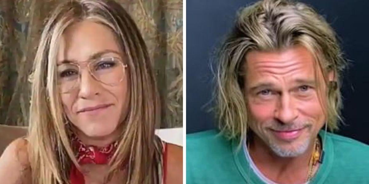 Jennifer Aniston y Brad Pitt durante la lectura de 'Fast times at Ridgemont High'