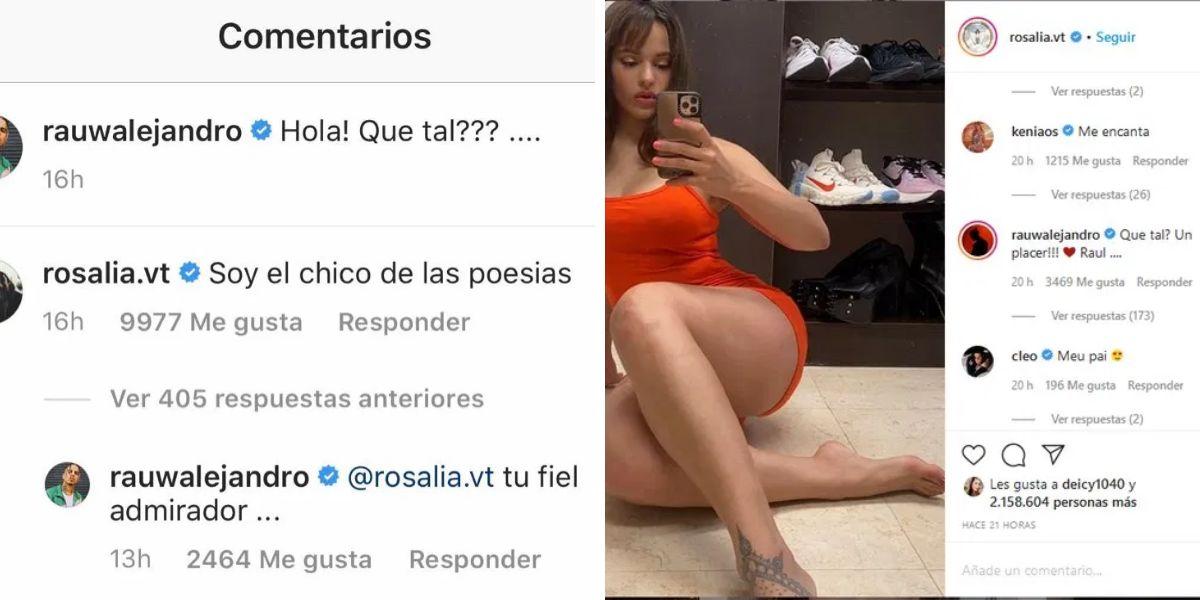 Pantallazos de los mensajes de Rosalía y Rauw Alejandro en Instagram