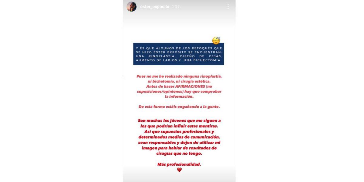 Ester Expósito estalla en Instagram