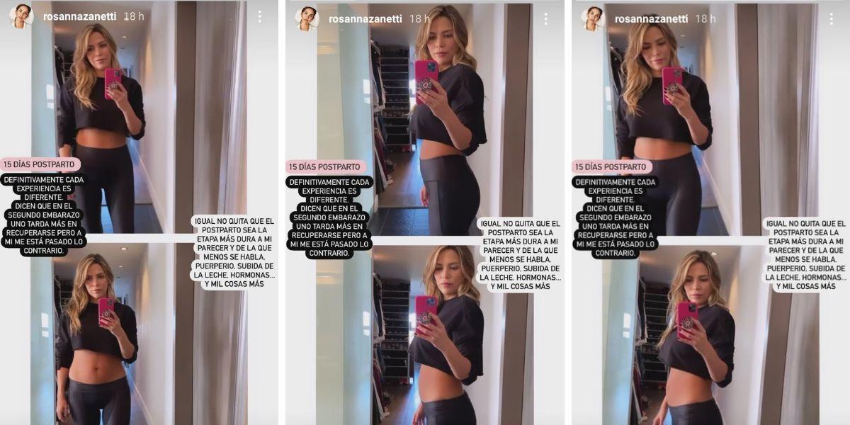 Rosanna zanetti muestra su tripita dos semanas después de dar a luz