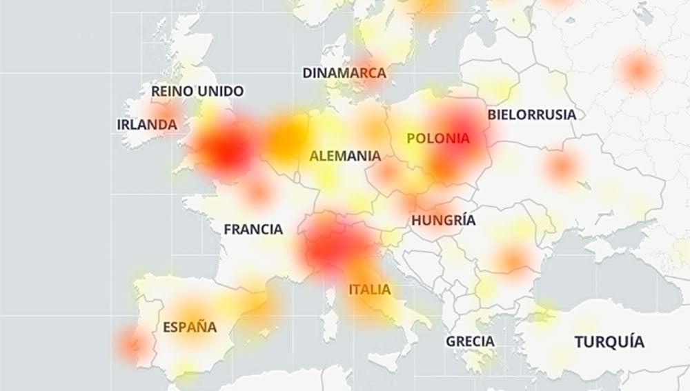 Incidencia de los los problemas de Google en Europa