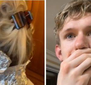 Un joven la lía al teñirle el pelo a su madre