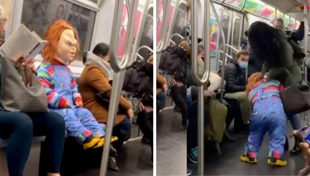 El muñeco Chucky en el metro de Nueva York