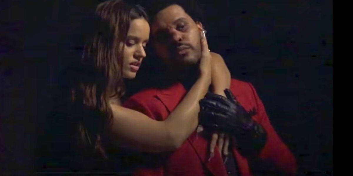 Rosalía y The Weeknd en el vídeo de 'Blinding Lights' Remix