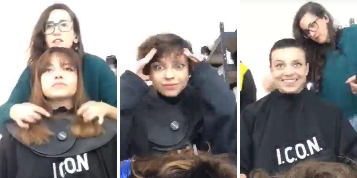 La actriz Paula del Río rapándose para su personaje en 'El Internado: Las Cumbres'