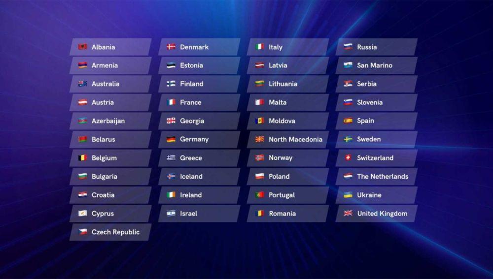 Los 41 países de Eurovisión.