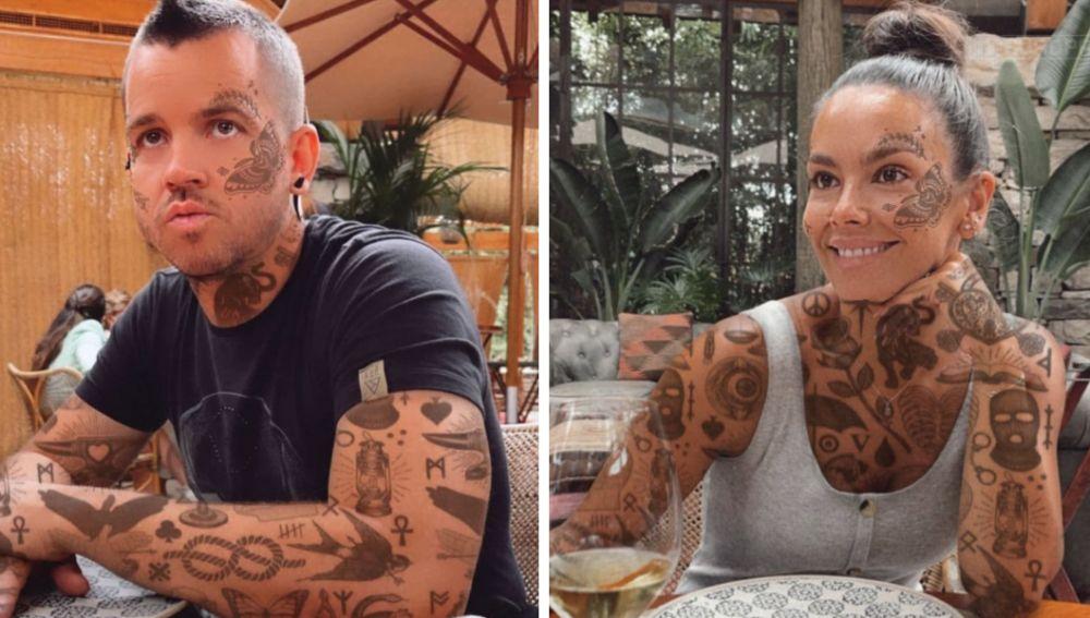 Dabiz Muñoz y Cristina Pedroche utilizando el filtro de tatuaje