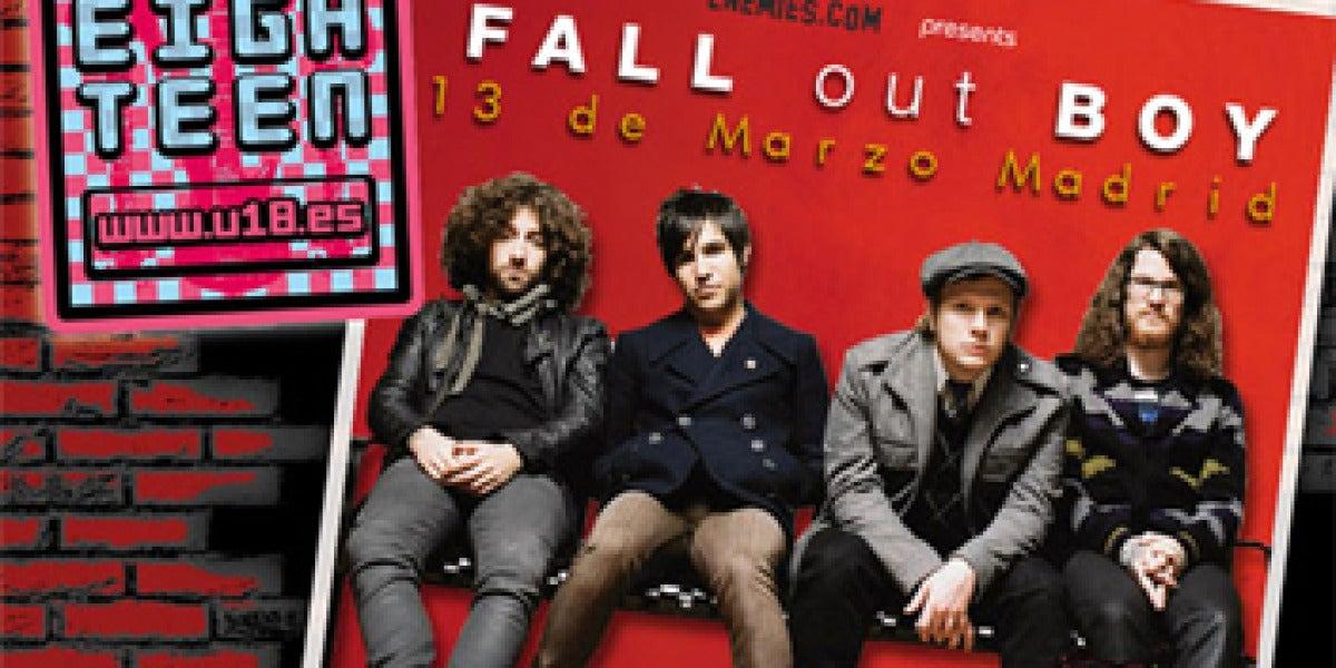 Cartel de U18 con Fall Out Boy