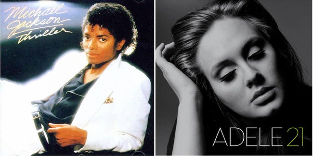 Portadas de los discos de Jackson y Adele.