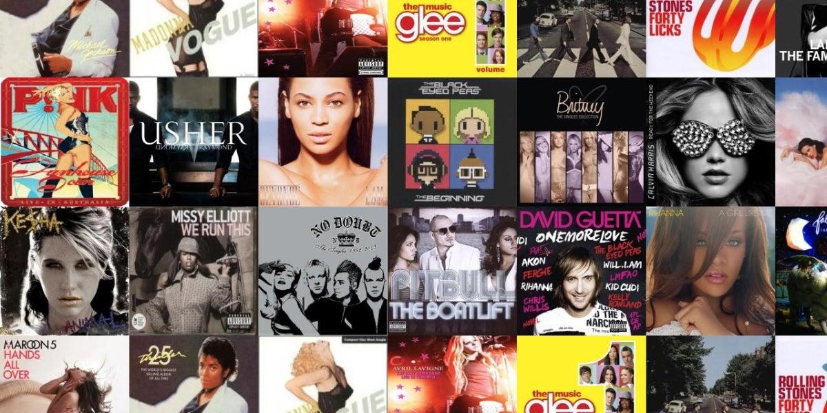 Collage de discos de 'música popular'
