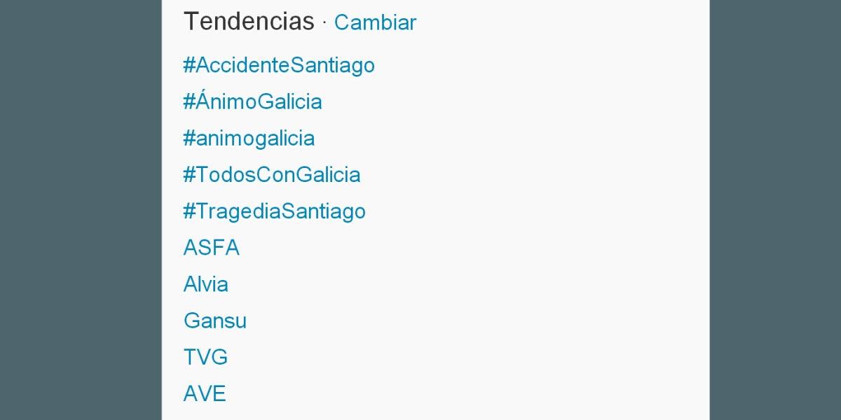 El accidente de Santiago copa los 'Trending Topics' en Twitter
