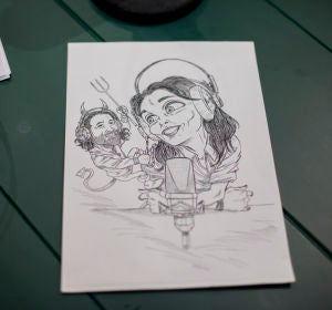 Caricatura Javier Limón y Mónica Carrillo