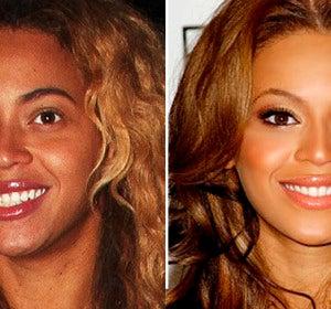 Beyoncé con y sin maquillaje