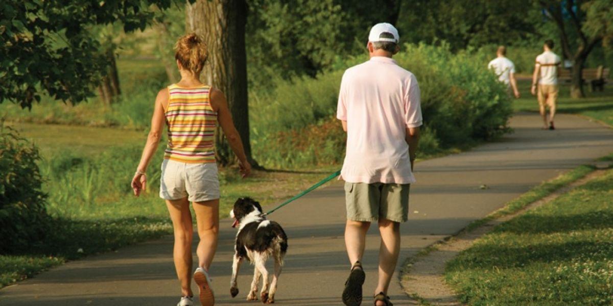 Un hombre y una mujer pasean con su perro