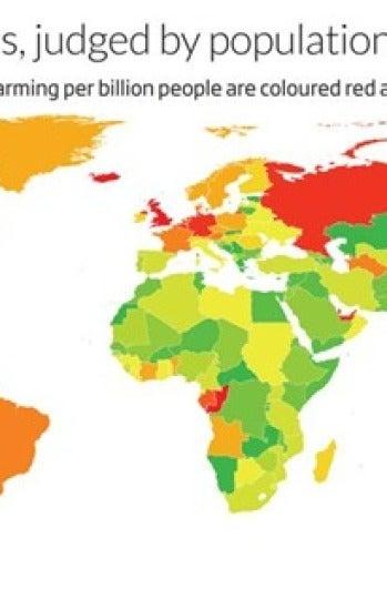 Los países marcados en rojo son los que más gases expulsan y los marcados en verde los que menos.