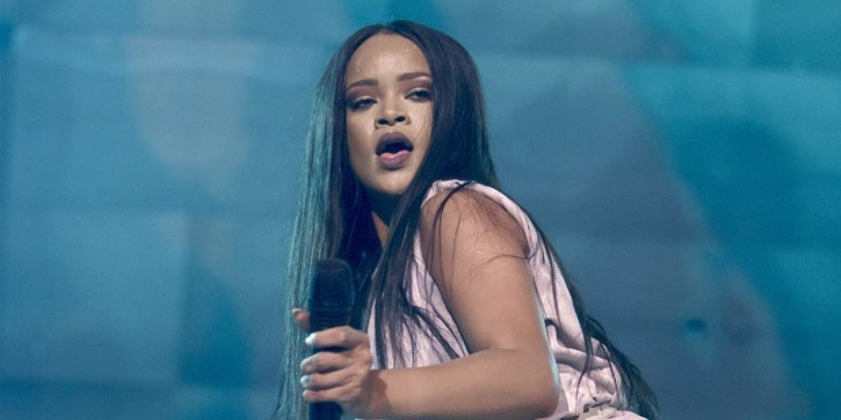 Rihanna durante su concierto en Dinamarca