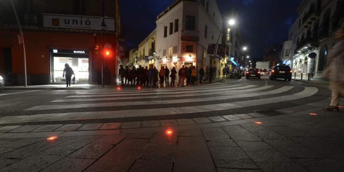 Semáforo en el suelo en Sant Cugat del Vallès