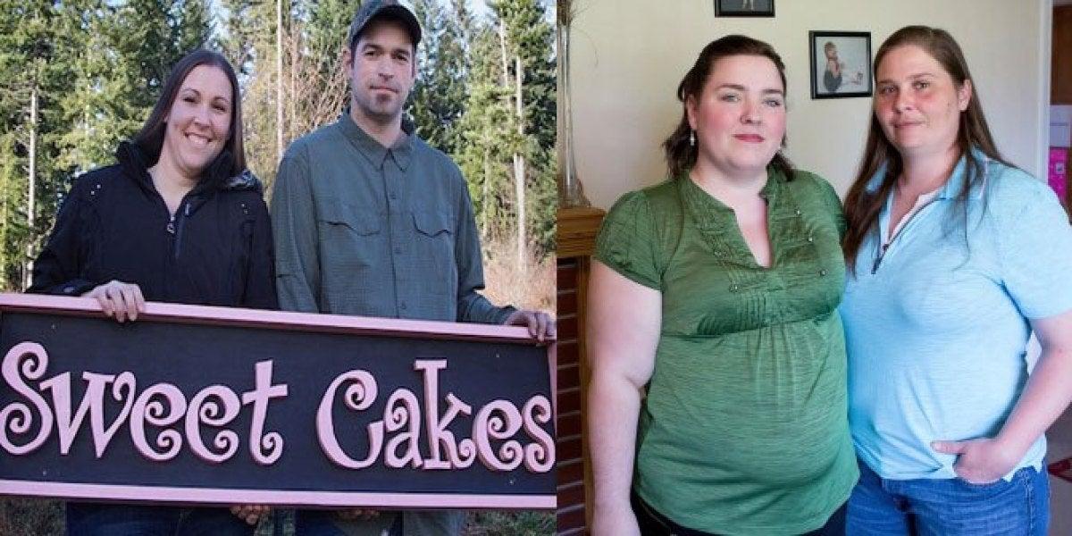 Los propietarios de la pasteleria y la pareja gay a la que no quisieron preparar la tarta