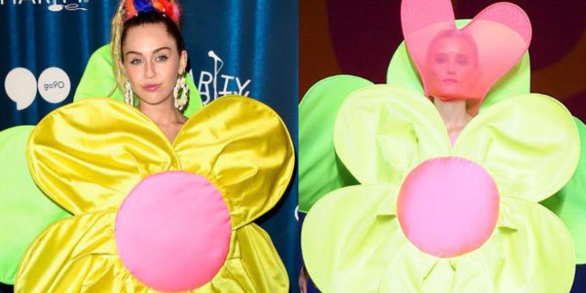 Miley Cyrus con el traje flor de Agatha Ruiz de la Prada