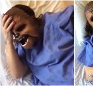 Una mujer da a luz con una máscara de Chewbacca