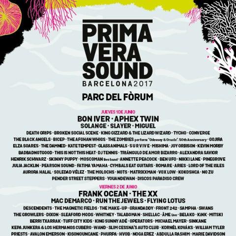 Cartel del Primavera Sound 2017