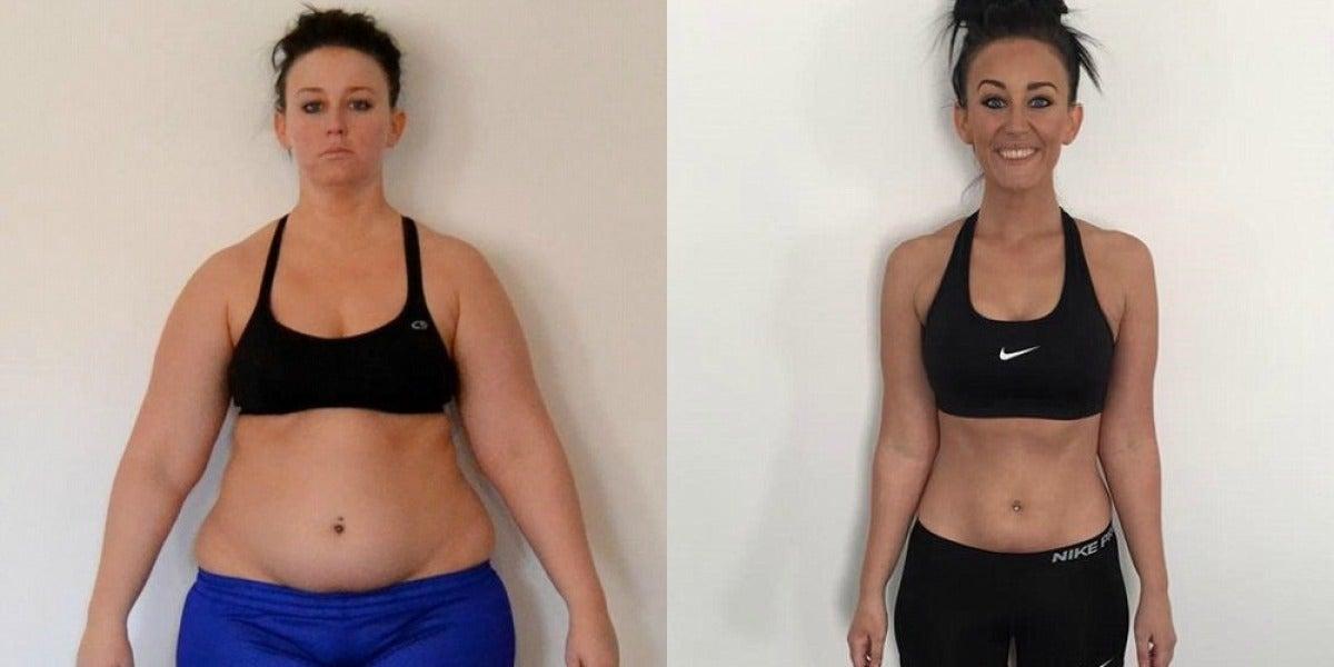 Katrina Buening, antes y después de perder peso