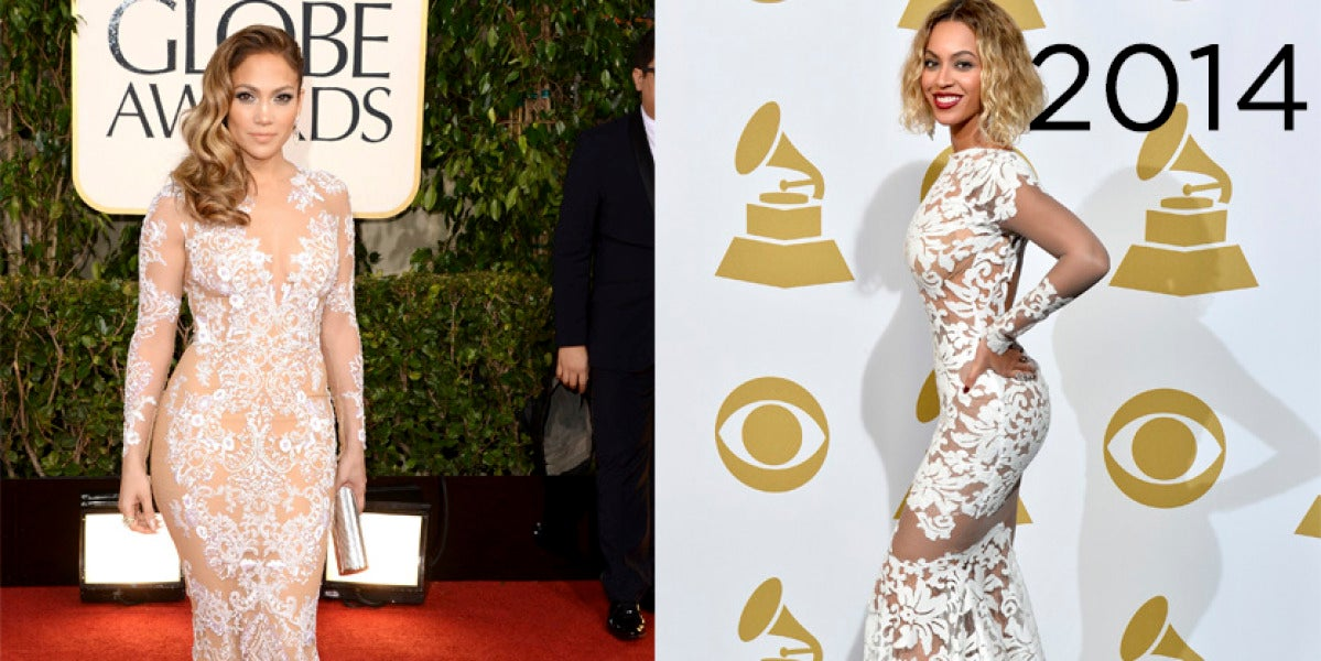 Beyoncé en los Grammy 2014 lució un vestido muy similar al que JLo llevó en los Globo de Oro de 2013
