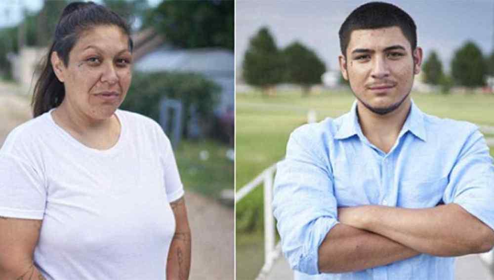 Mónica Mares de 37 años y su hijo biológico, Caleb Peterson