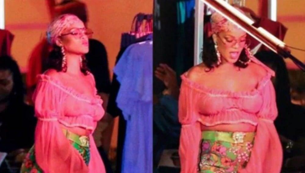 Rihanna en el rodaje de su nuevo vídeo