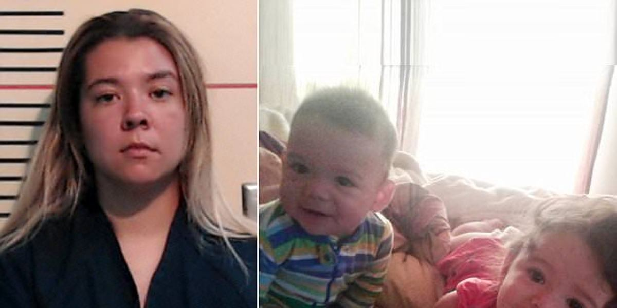 A la izquierda, Cynthia Marie Randolph detenida. A la derecha, los pequeños fallecidos.