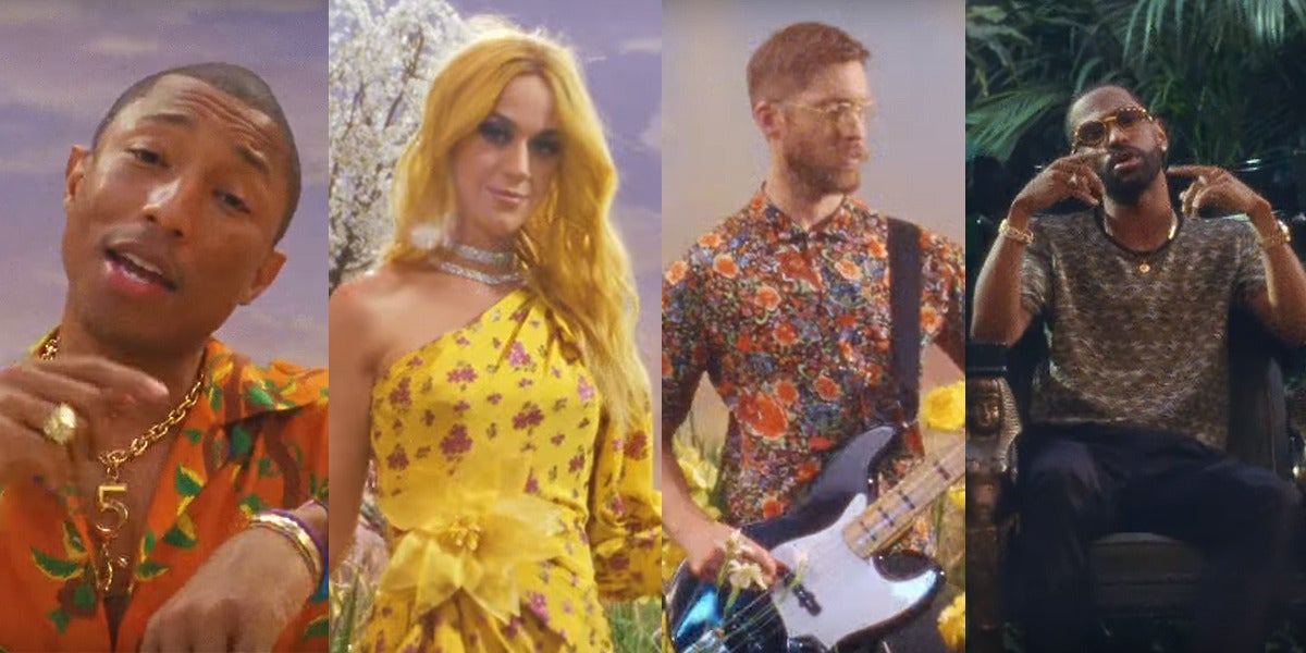 Pharrell Williams, Katy Perry, Calvin Harris y Big Sean en el vídeo de 'Feels'