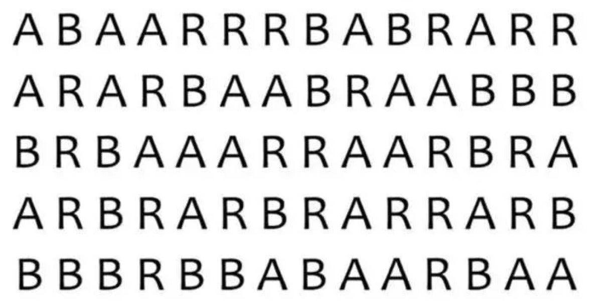 ¿Serías capaz de encontrar la palabra 'bar' en menos de un minuto?