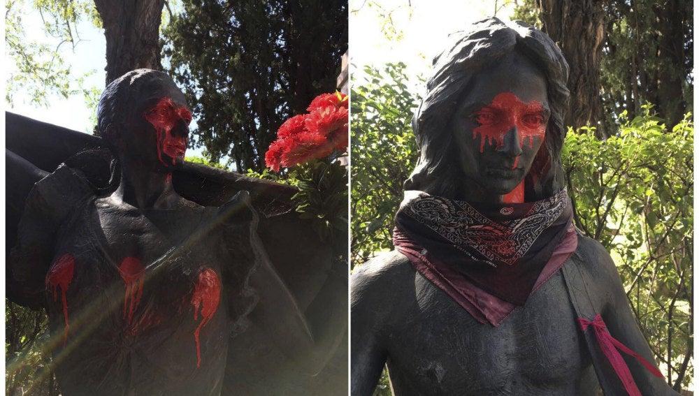 Estatuas de Lola y su hijo Antonio Flores, profanadas